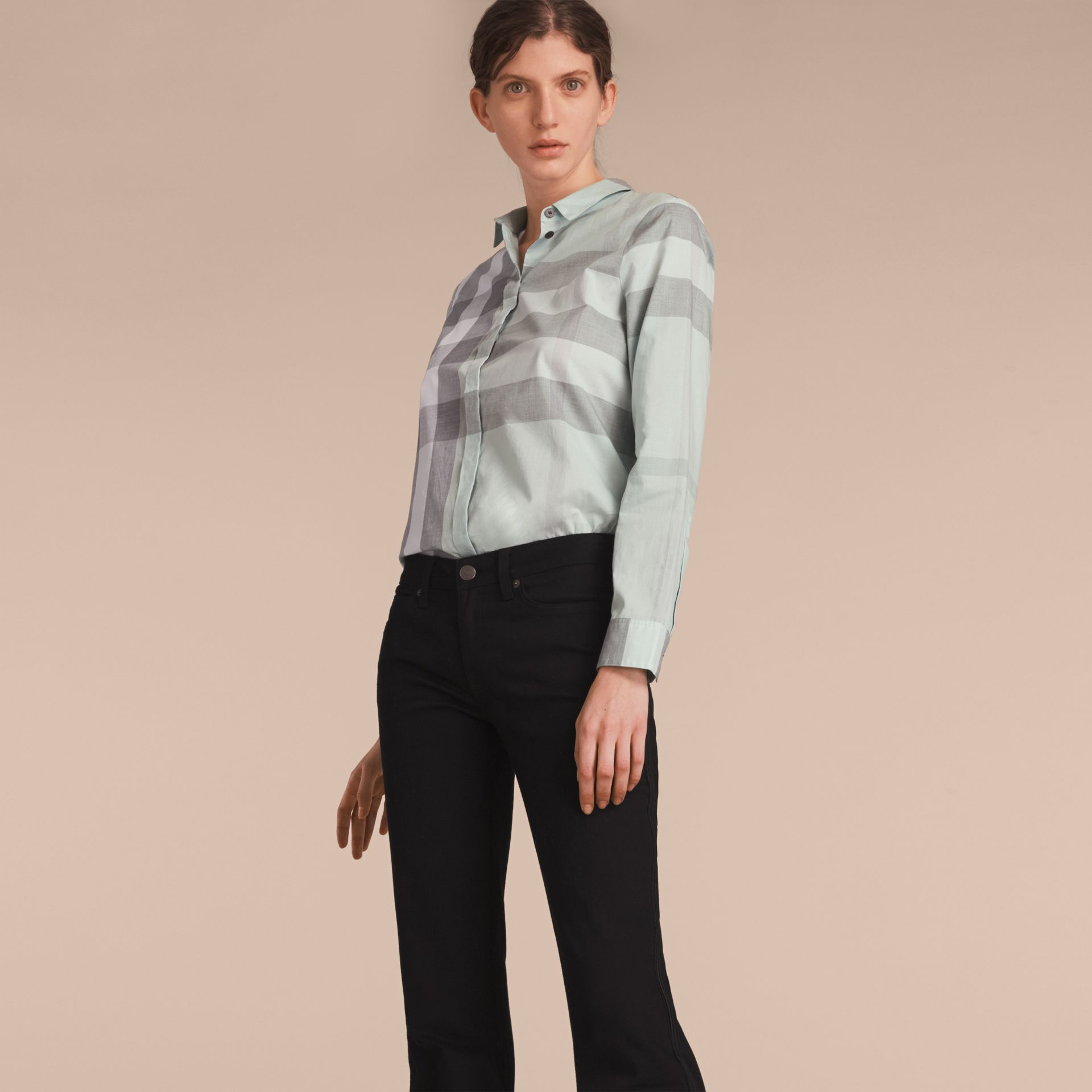 Pale opal Check Cotton Shirt Pale Opal - gallery image 6