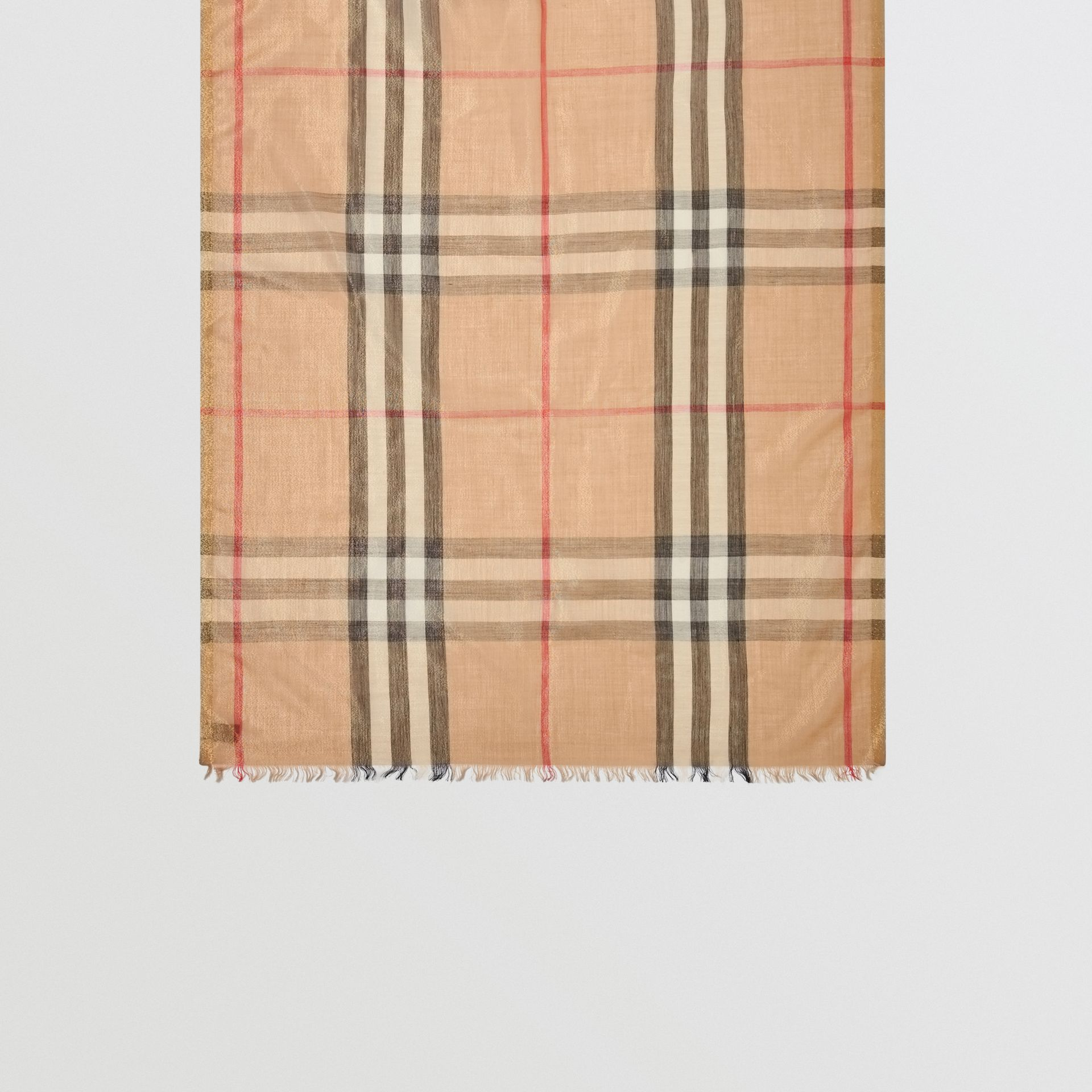 Metallic Check Silk and Wool Scarf in Camel/gold - Women | Burberry Canada - gallery image 4