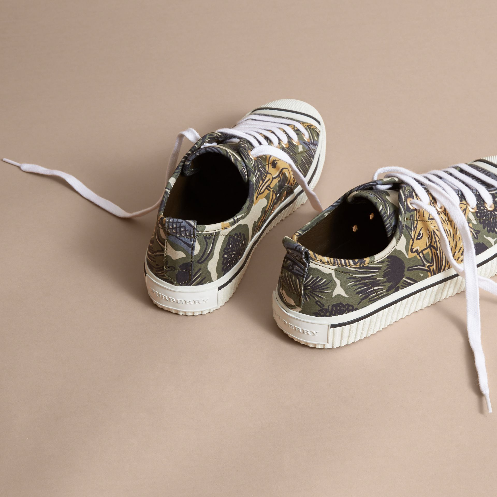 Beasts Print Stretch Cotton Trainers - Men | Burberry - gallery image 4