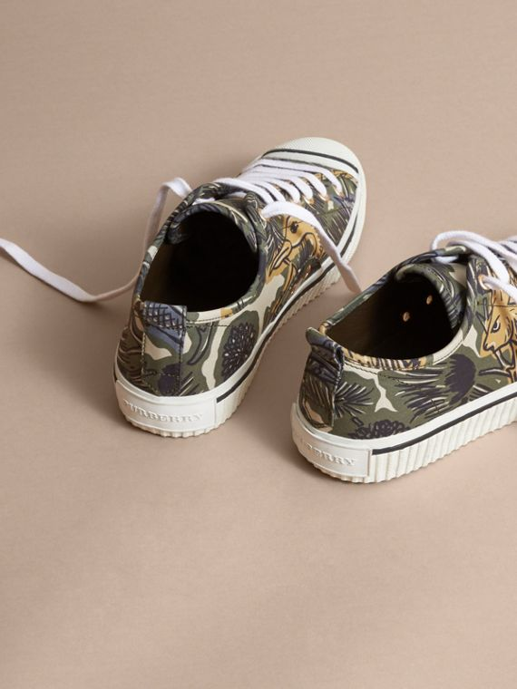 Beasts Print Stretch Cotton Trainers in Clay Green - Men | Burberry - cell image 3
