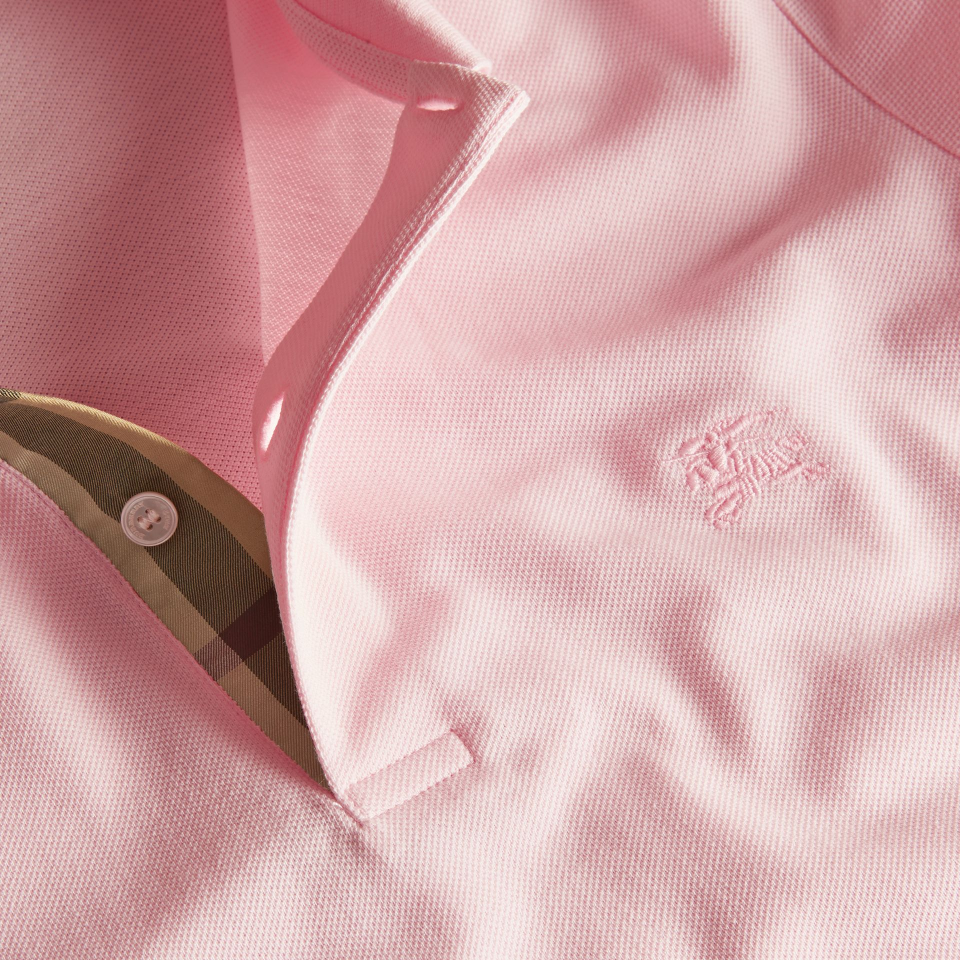 Check Placket Cotton Piqué Polo Shirt in City Pink - gallery image 2