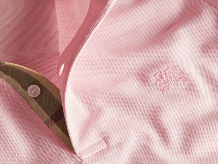 Check Placket Cotton Piqué Polo Shirt in City Pink - cell image 1