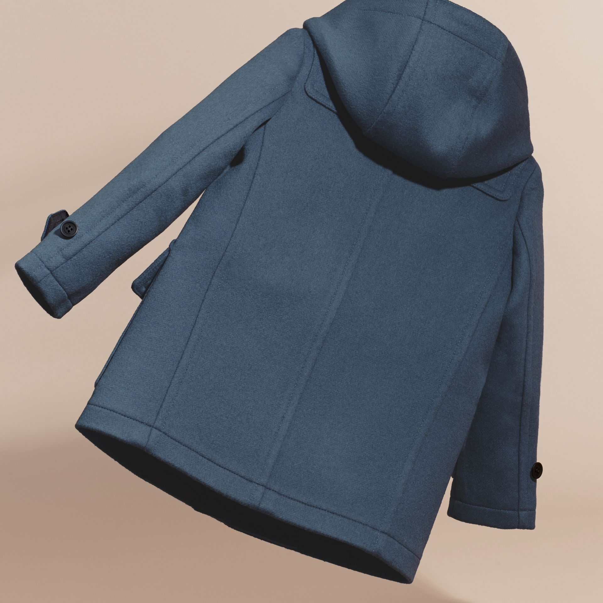 Steel blue Wool Duffle Coat with Check-lined Hood Steel Blue - gallery image 4