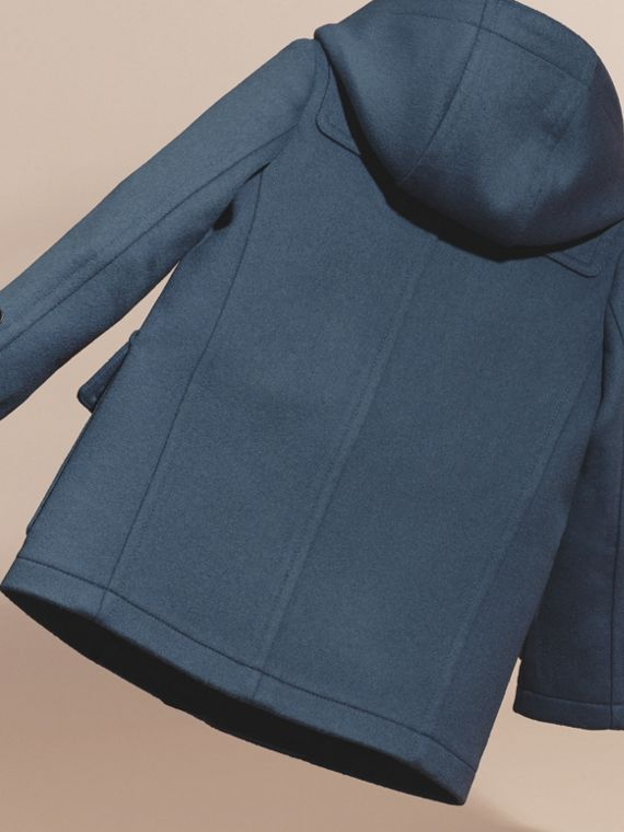 Steel blue Wool Duffle Coat with Check-lined Hood - cell image 3