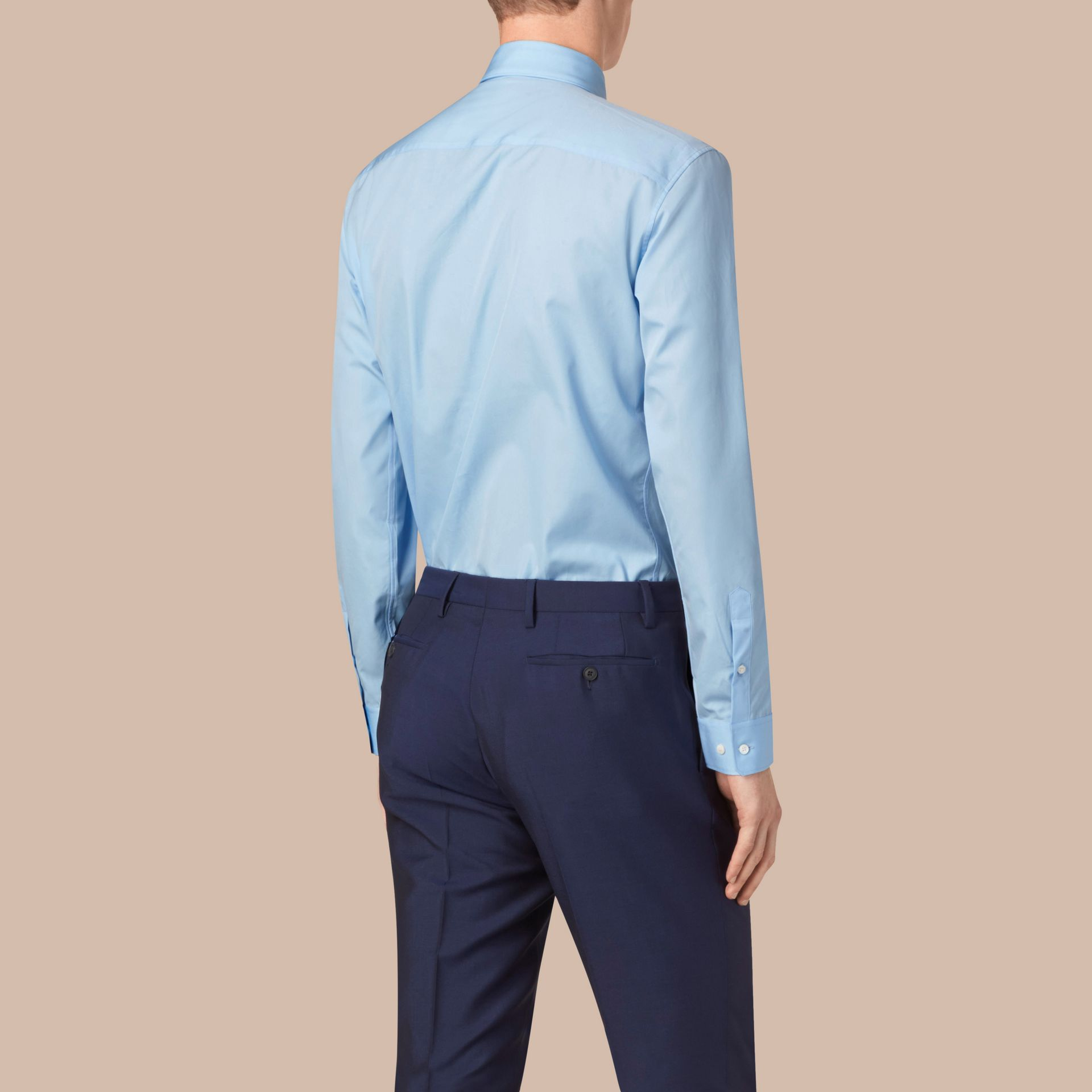 City blue Modern Fit Button-down Collar Cotton Poplin Shirt City Blue - gallery image 3