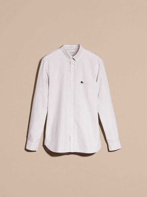 Button-down Collar Oxford Stripe Cotton Shirt in Navy - cell image 3