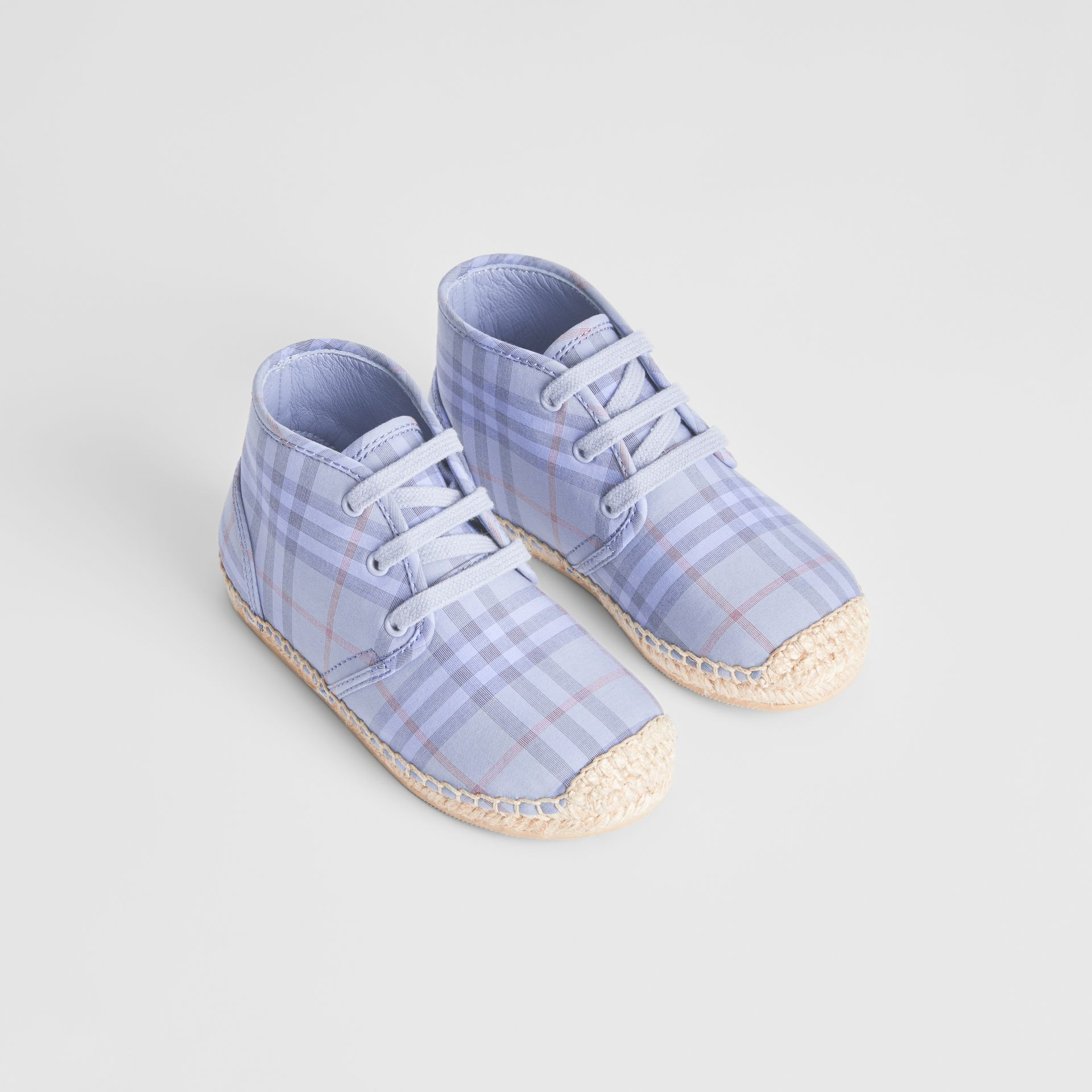 Check Espadrille Booties in Dusty Blue - Children | Burberry - gallery image 0