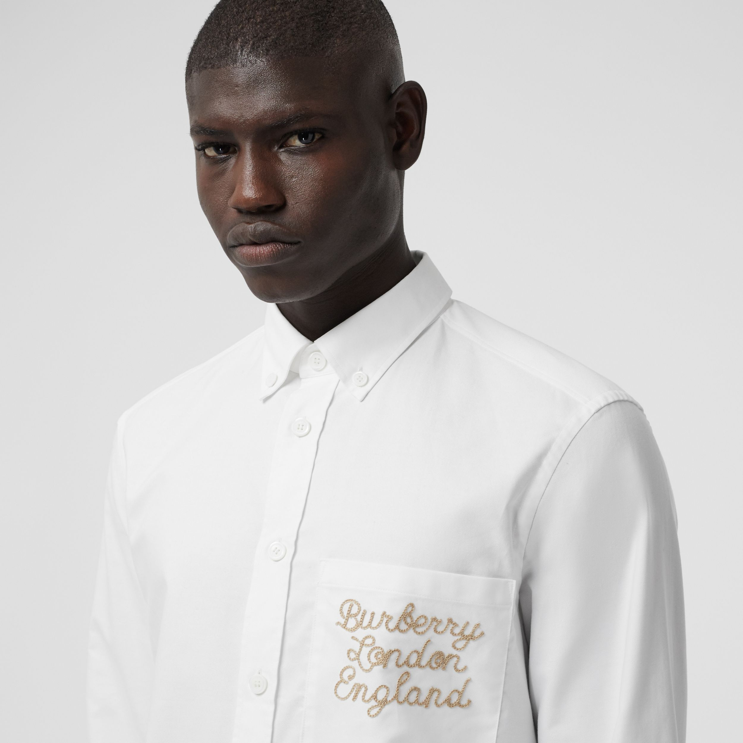 Embroidered Logo Cotton Oxford Shirt in White - Men | Burberry - 2