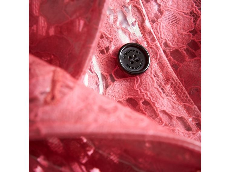 Laminated Lace Trench Coat in Bright Pink - Girl | Burberry - cell image 1