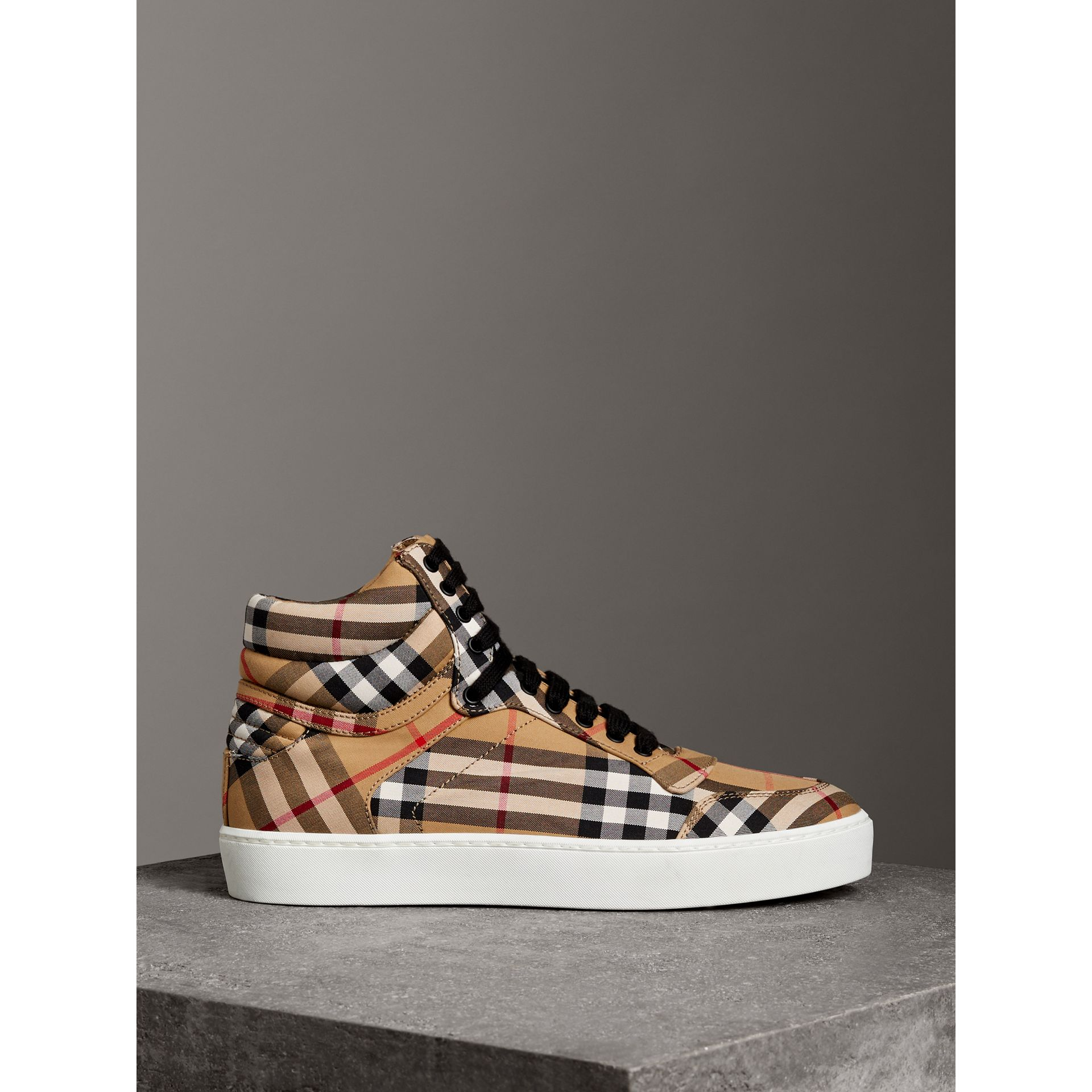 Vintage Check Cotton High-top Sneakers in Antique Yellow - Women | Burberry Hong Kong - gallery image 4
