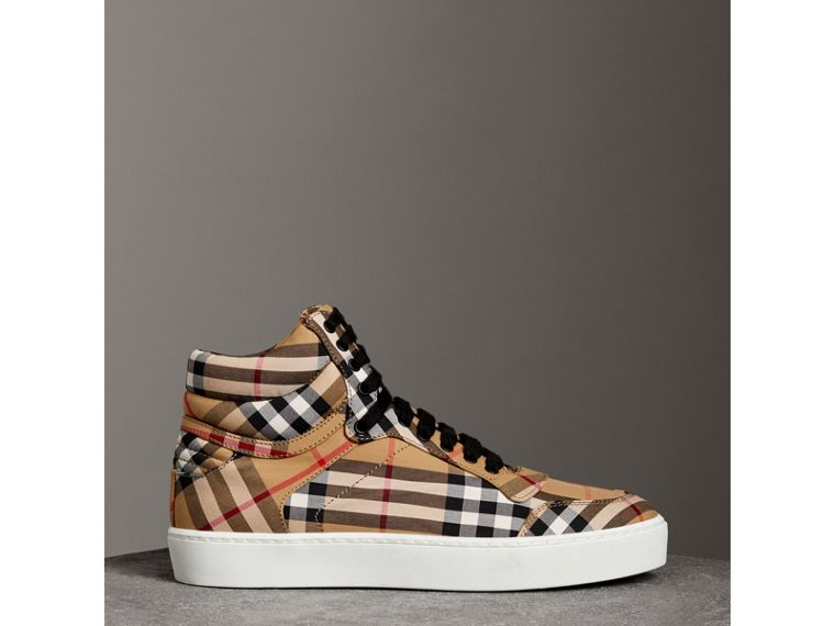 Vintage Check Cotton High-top Sneakers in Antique Yellow - Women | Burberry - cell image 4