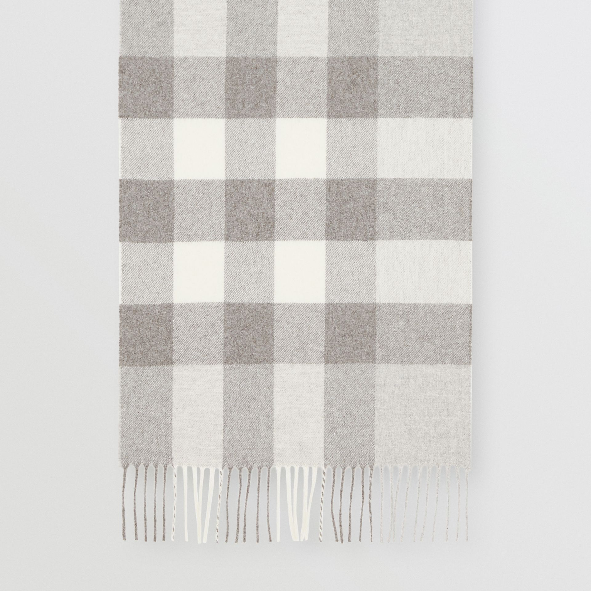 Check Cashmere Scarf in Light Grey | Burberry - gallery image 4