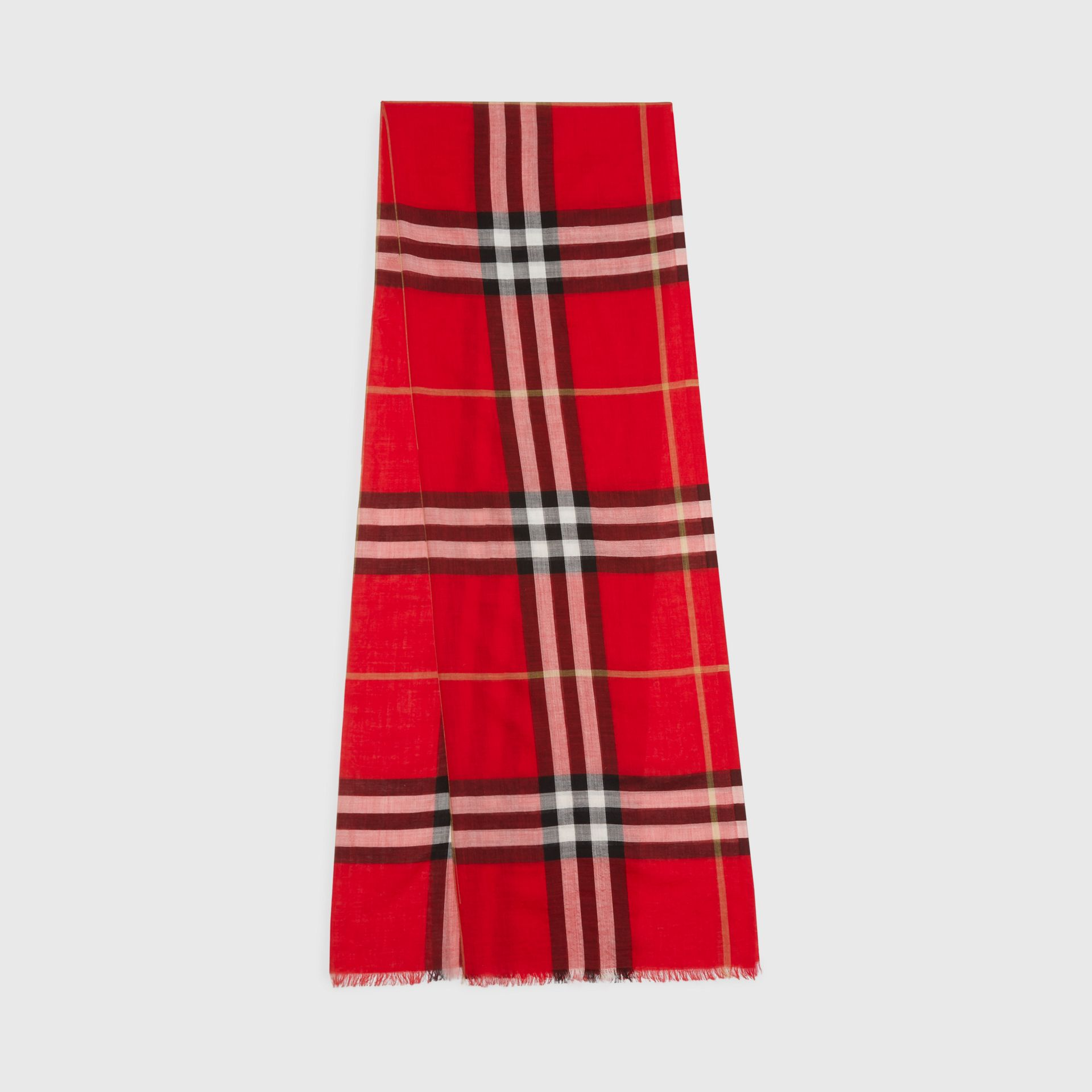 Lightweight Check Wool and Silk Scarf in Bright Military Red | Burberry United Kingdom - gallery image 0