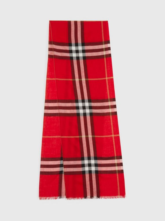 Lightweight Check Wool Silk Scarf in Parade Red