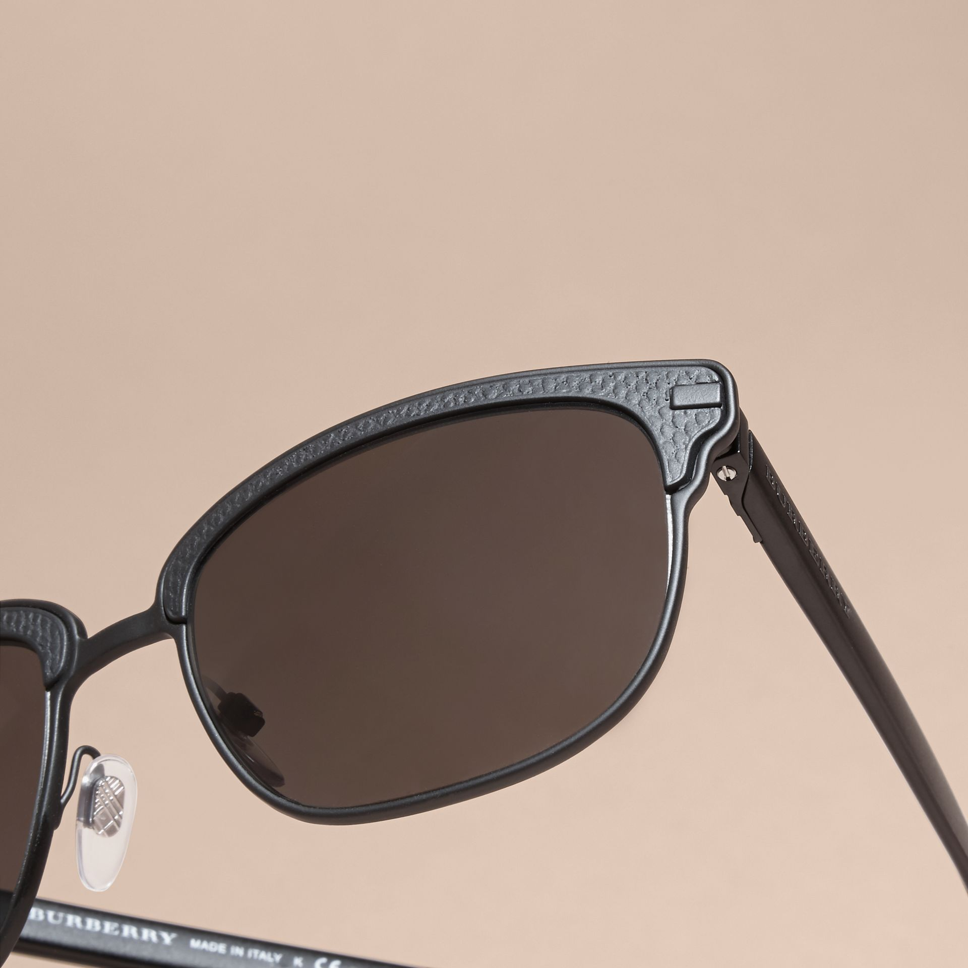 Textured Front Square Frame Sunglasses in Black - Men | Burberry Singapore - gallery image 5