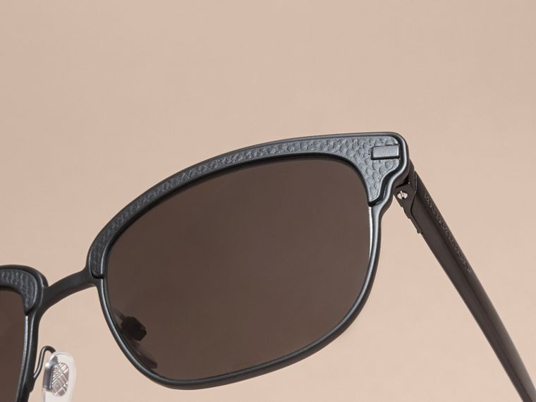 Textured Front Square Frame Sunglasses in Black - Men | Burberry Australia - cell image 4