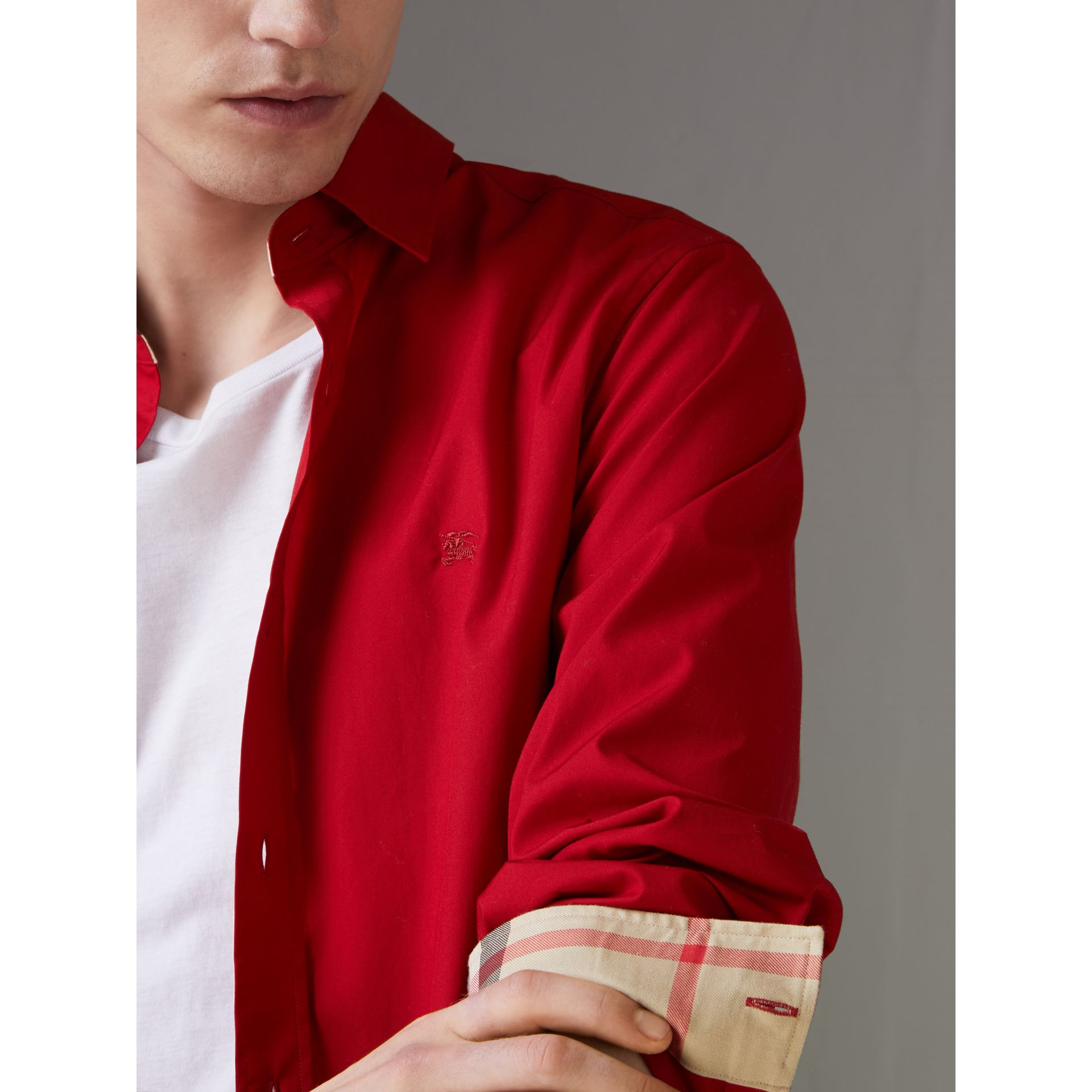 Check Detail Stretch Cotton Poplin Shirt in Bright Red - Men | Burberry - gallery image 1