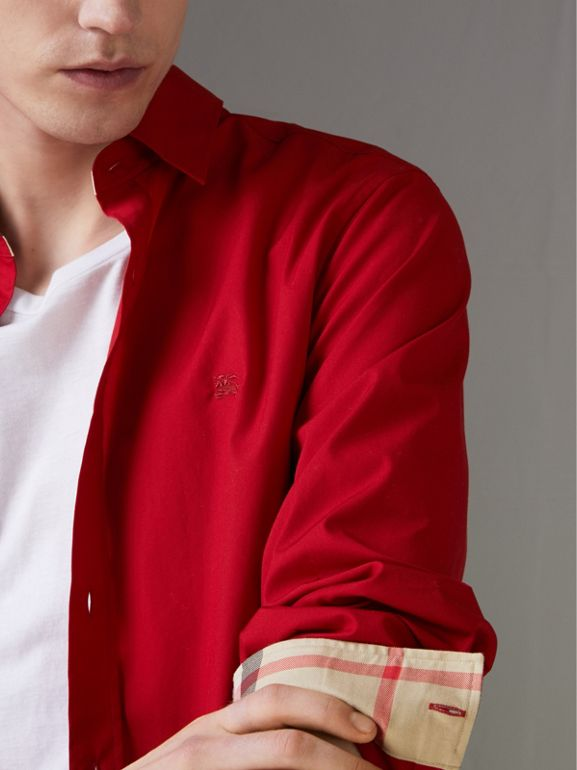 Check Detail Stretch Cotton Poplin Shirt in Bright Red - Men | Burberry - cell image 1