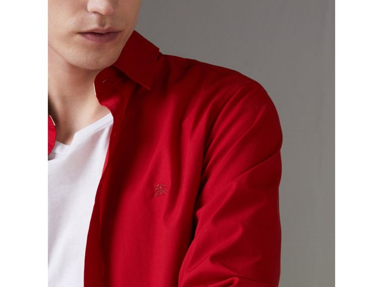 Check Detail Stretch Cotton Poplin Shirt in Bright Red - Men | Burberry Canada - cell image 1