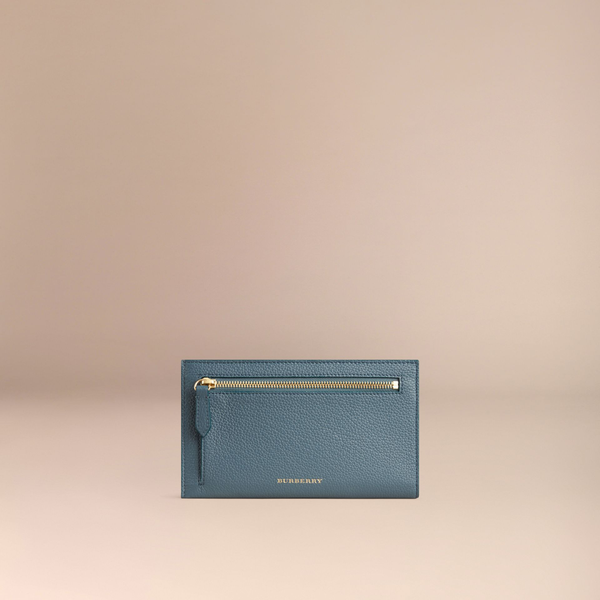 Grainy Leather Travel Case in Dusty Teal | Burberry - gallery image 4