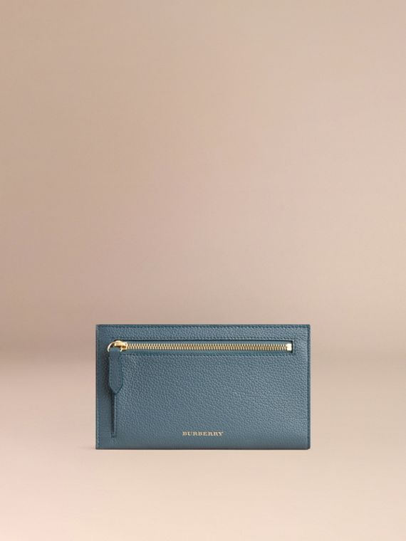 Grainy Leather Travel Case in Dusty Teal | Burberry - cell image 3