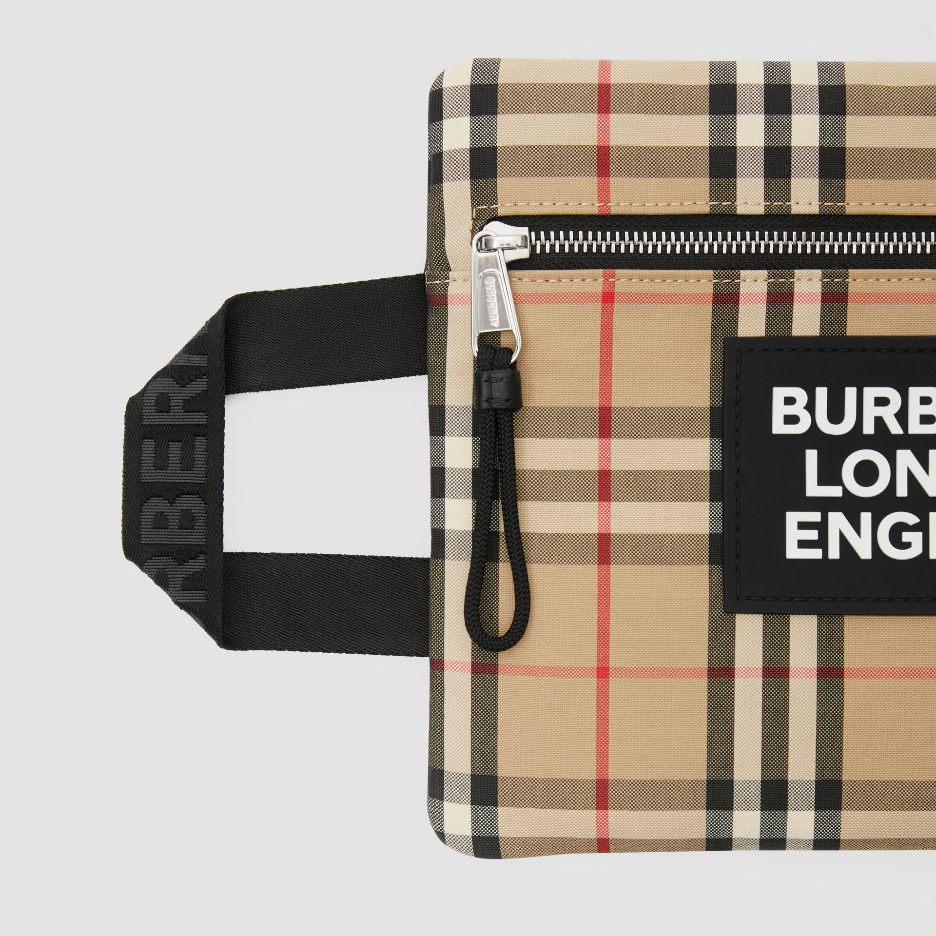 Logo Detail Vintage Check Portrait Pouch in Archive Beige | Burberry - gallery image 1