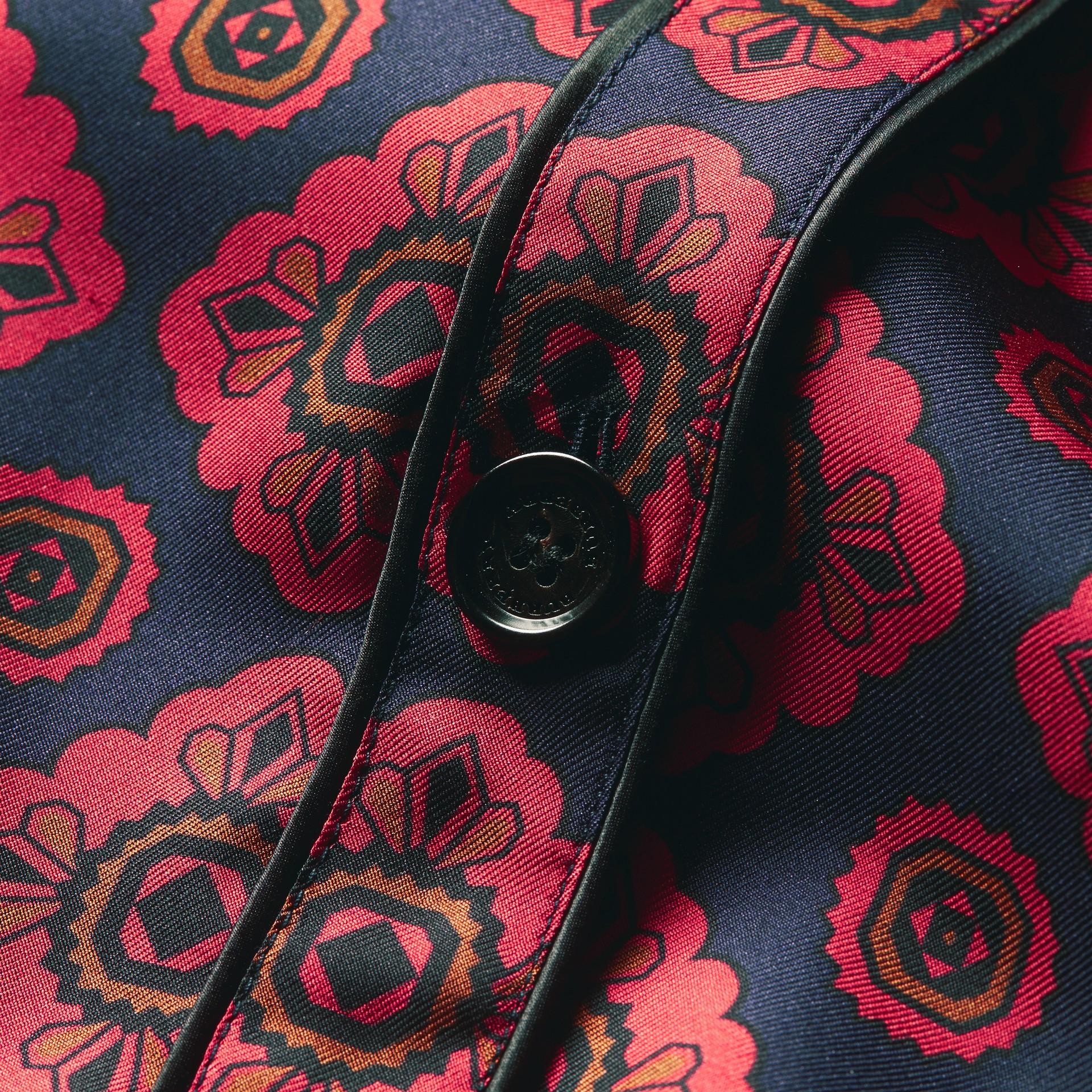 Geometric Tile Print Silk Pyjama-style Shirt - gallery image 2