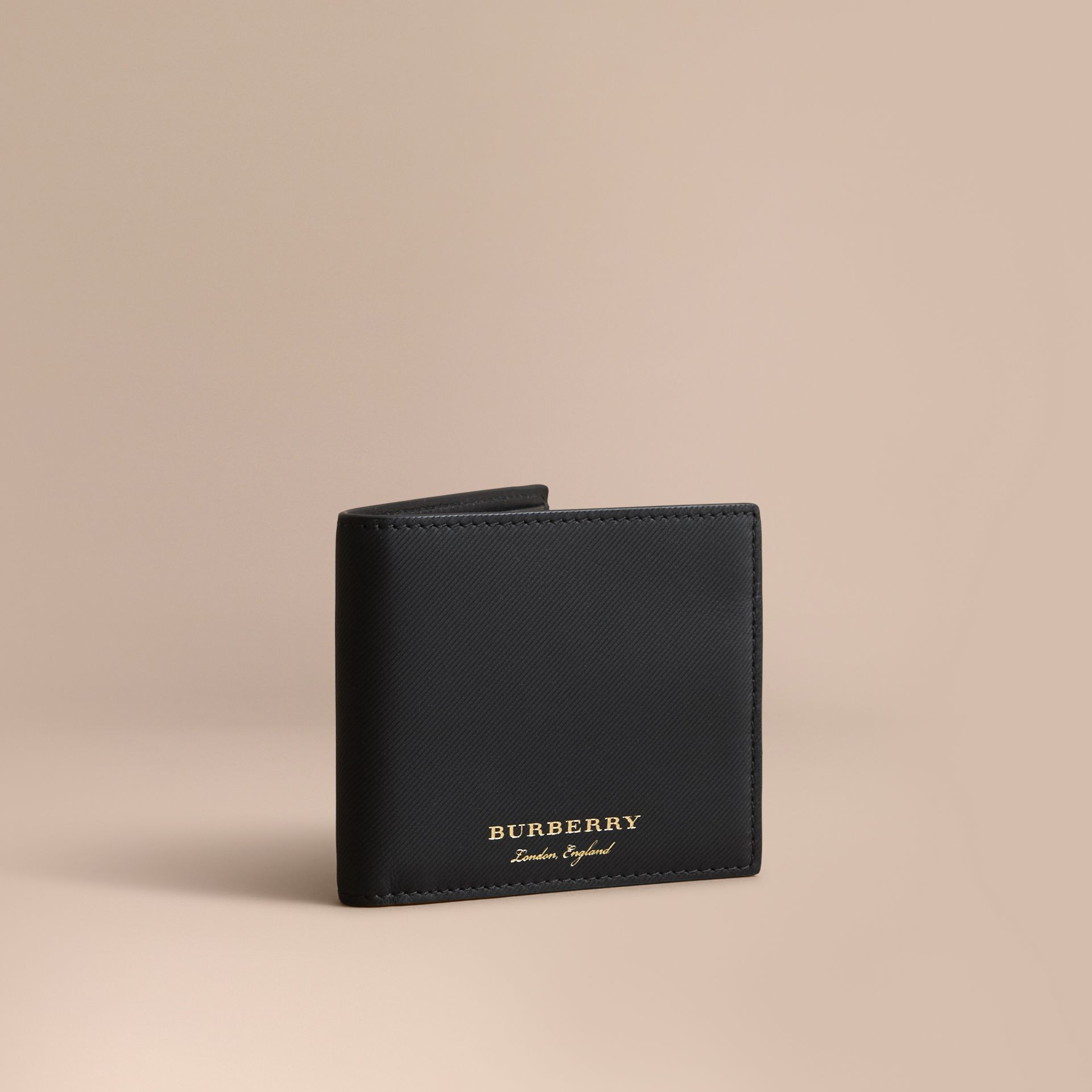 Trench Leather International Bifold Wallet in Black - Men | Burberry Australia - gallery image 1