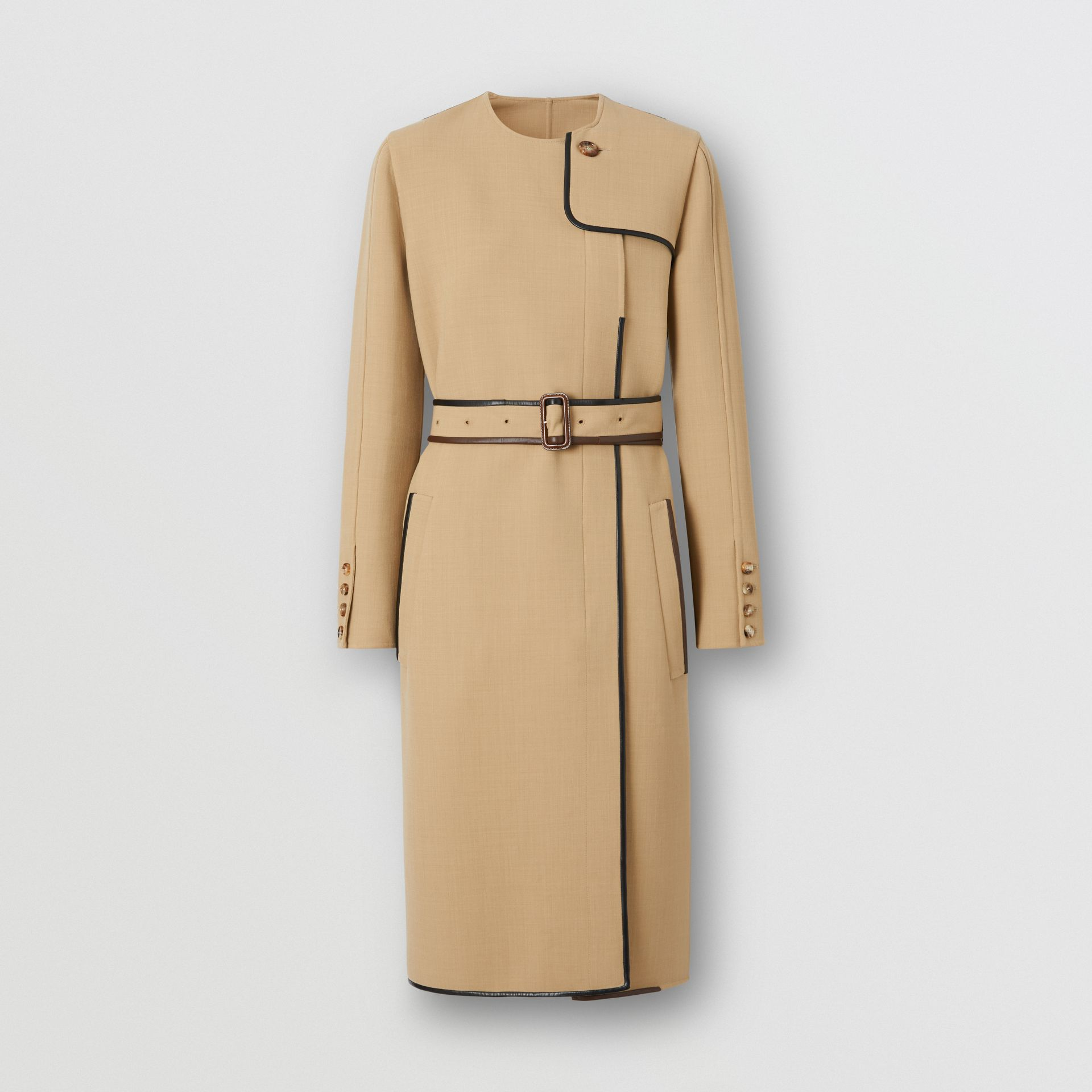 Lambskin Trim Technical Wool Belted Dress in Honey - Women | Burberry Australia - gallery image 3