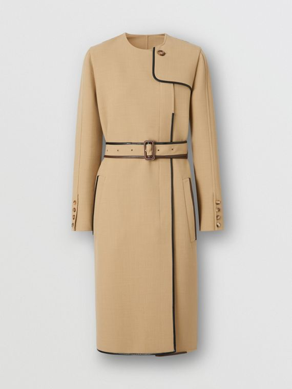 Lambskin Trim Technical Wool Belted Dress in Honey