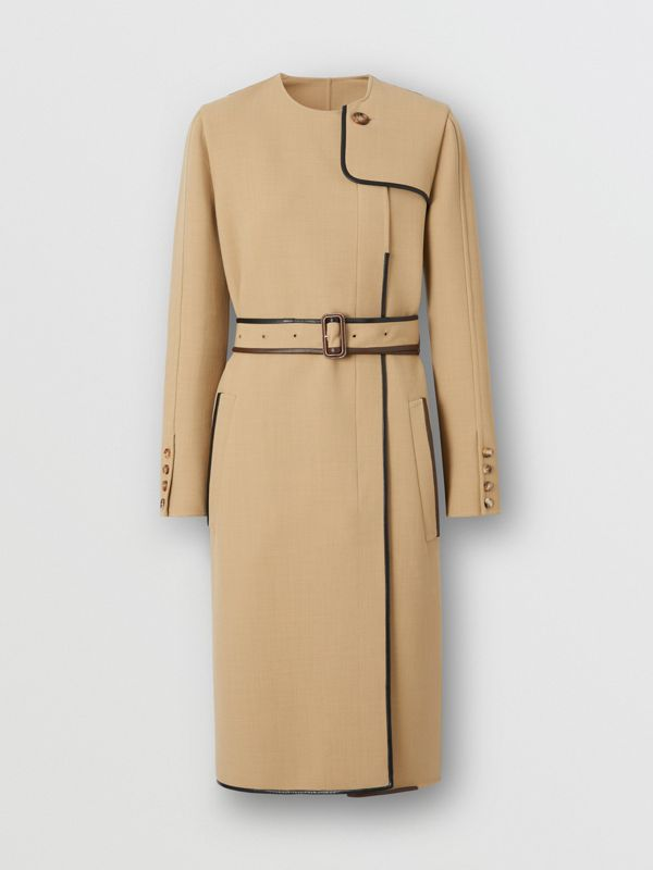 Lambskin Trim Technical Wool Belted Dress in Honey - Women | Burberry Australia - cell image 3