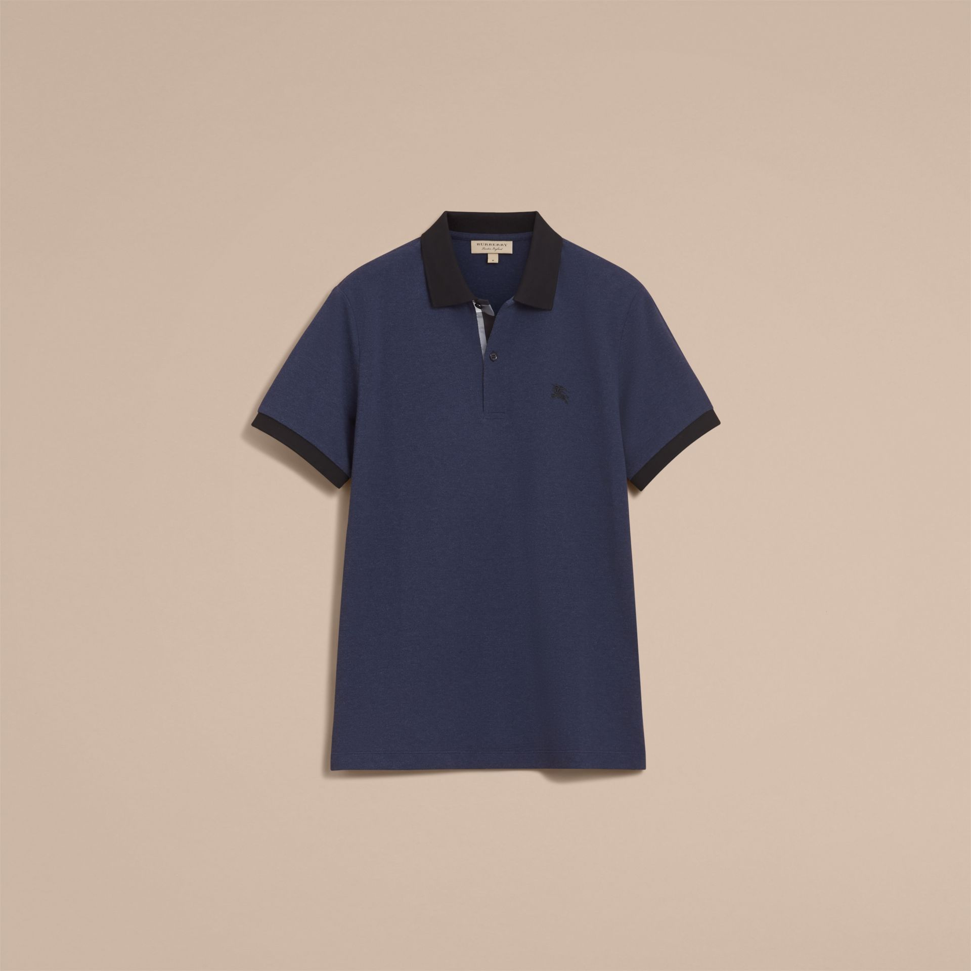 Two-tone Check Placket Cotton Piqué Polo Shirt in Navy Melange - Men | Burberry - gallery image 4