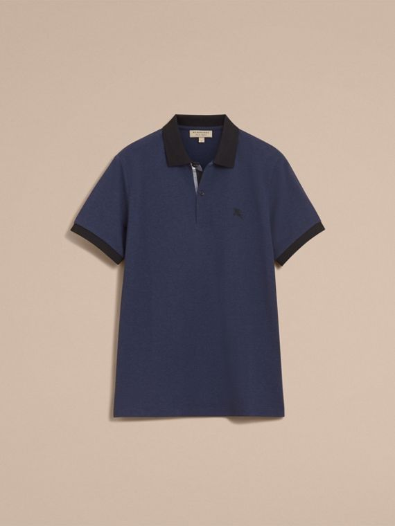 Two-tone Check Placket Cotton Piqué Polo Shirt in Navy Melange - Men | Burberry - cell image 3