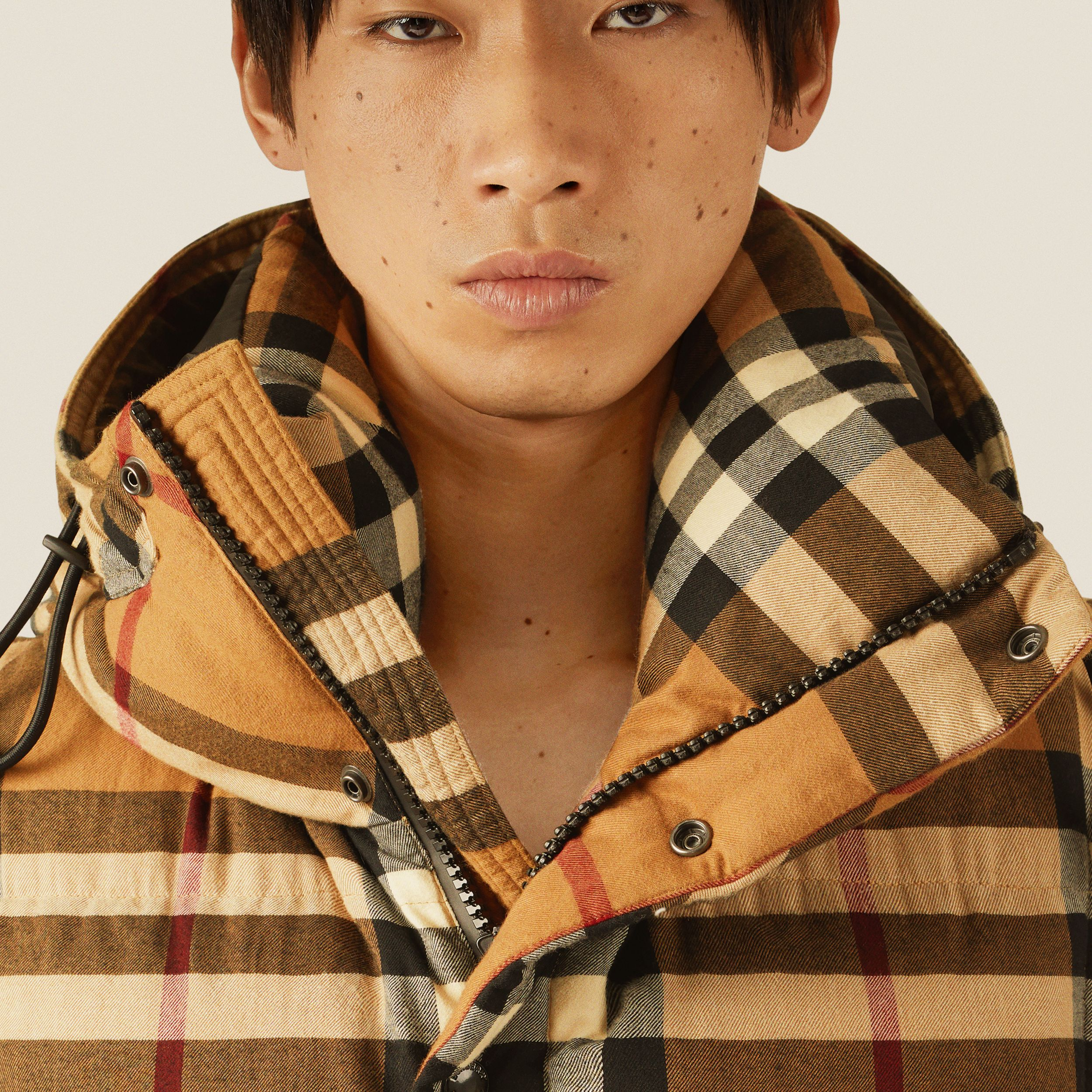 Detachable Sleeve Check Cotton Hooded Puffer Jacket in Birch Brown - Men | Burberry - 2