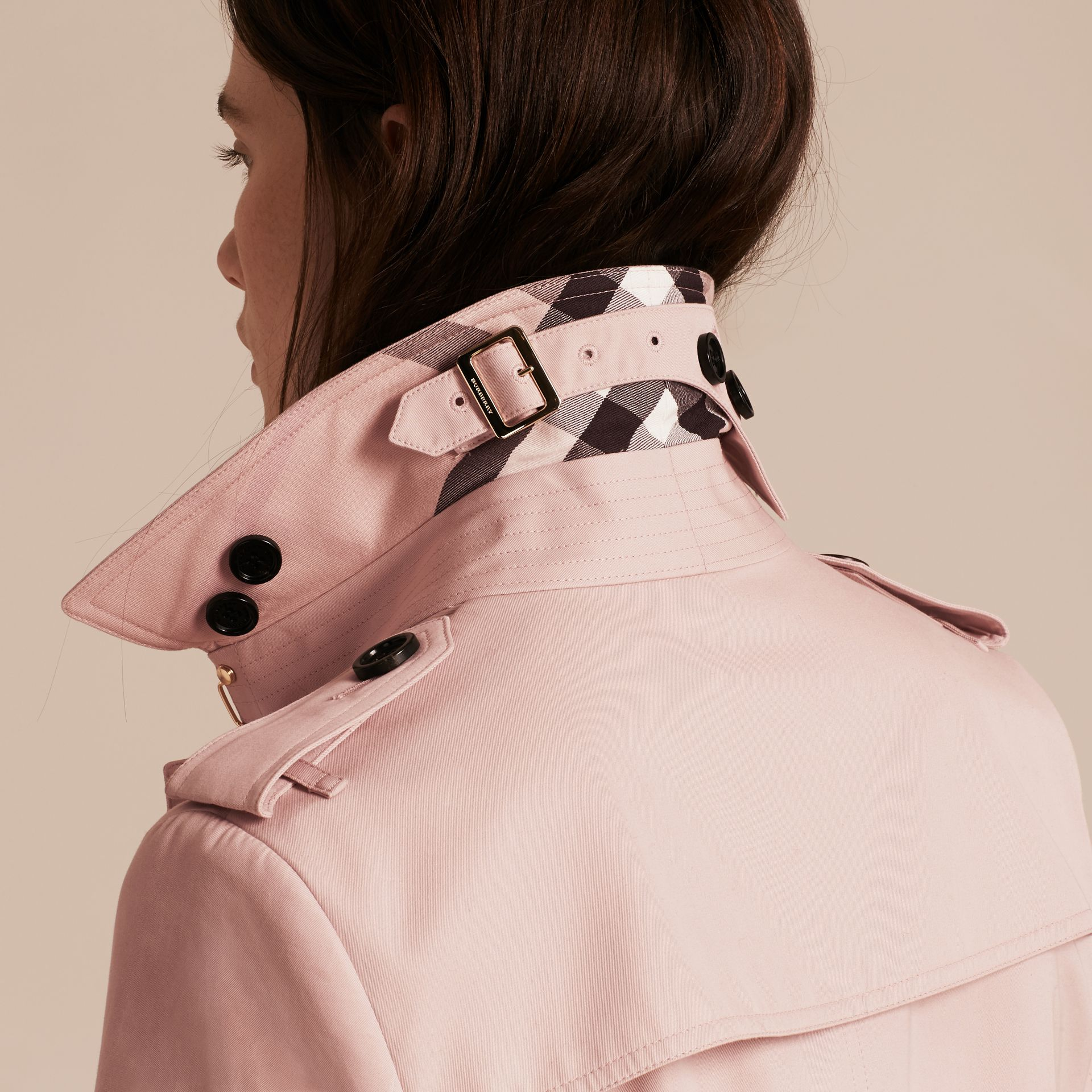 Single-breasted Trench Coat with Metal Buckle Detail Ice Pink - gallery image 5