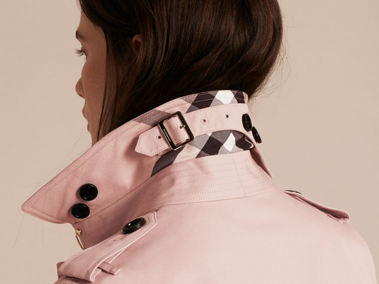 Single-breasted Trench Coat with Metal Buckle Detail Ice Pink - cell image 4