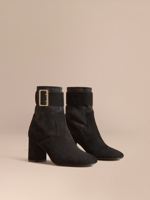 Buckle Detail Kidskin Boots in Black