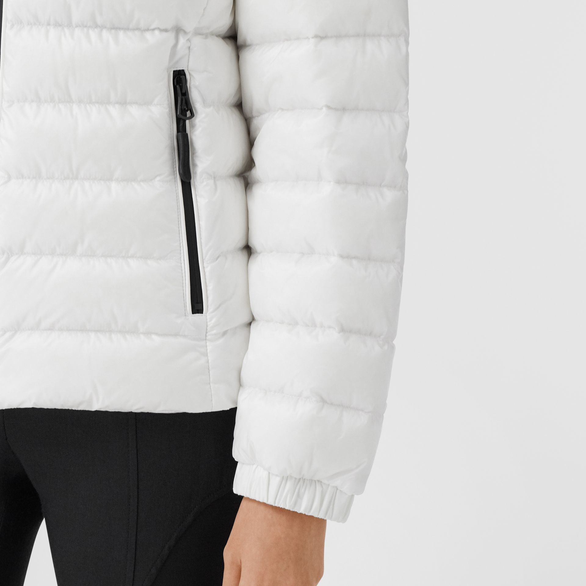 Logo Print Lightweight Puffer Jacket in White - Women | Burberry Australia - gallery image 4