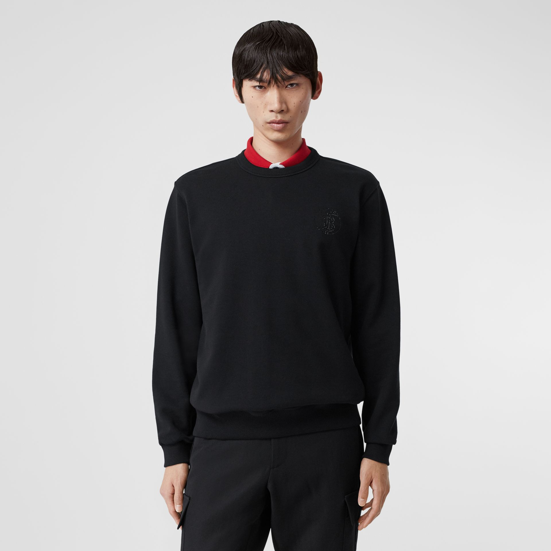 Crystal Monogram Motif Cotton Sweatshirt in Black - Men | Burberry Hong Kong S.A.R - gallery image 0