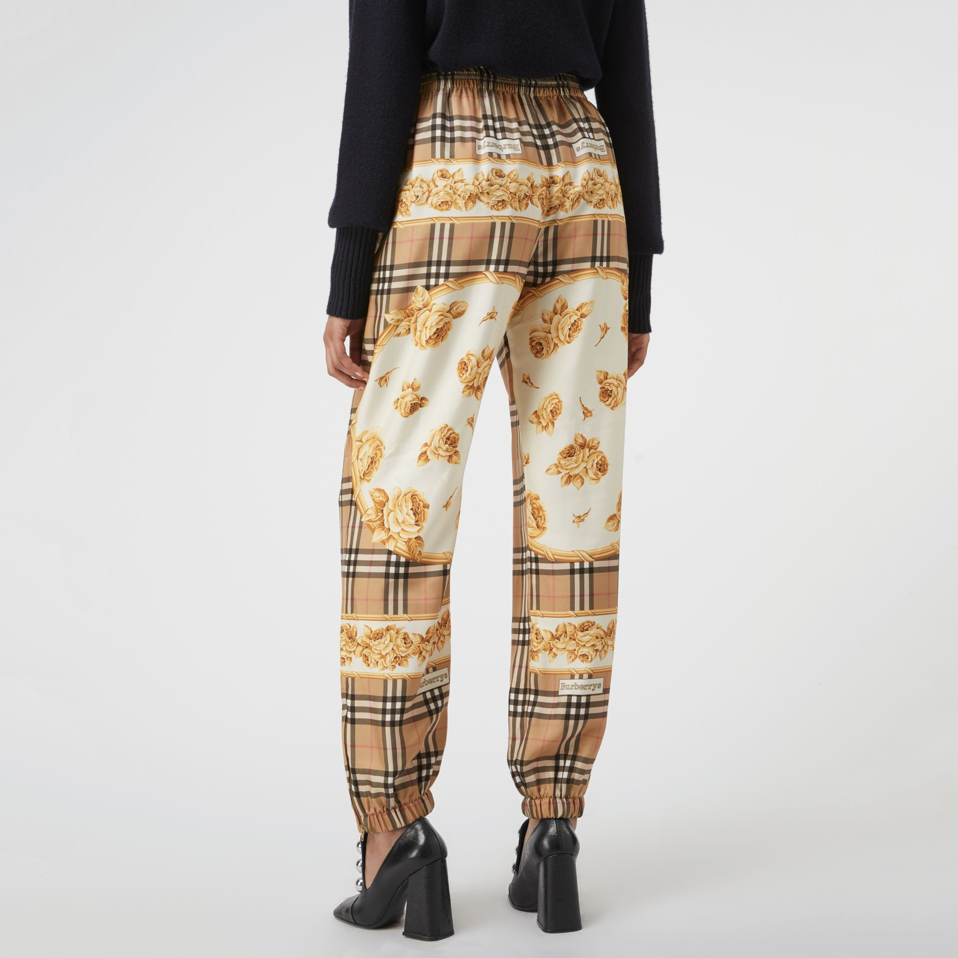 Scarf Border Vintage Check Silk Drawcord Trousers in Multicolour - Women | Burberry Hong Kong - gallery image 2