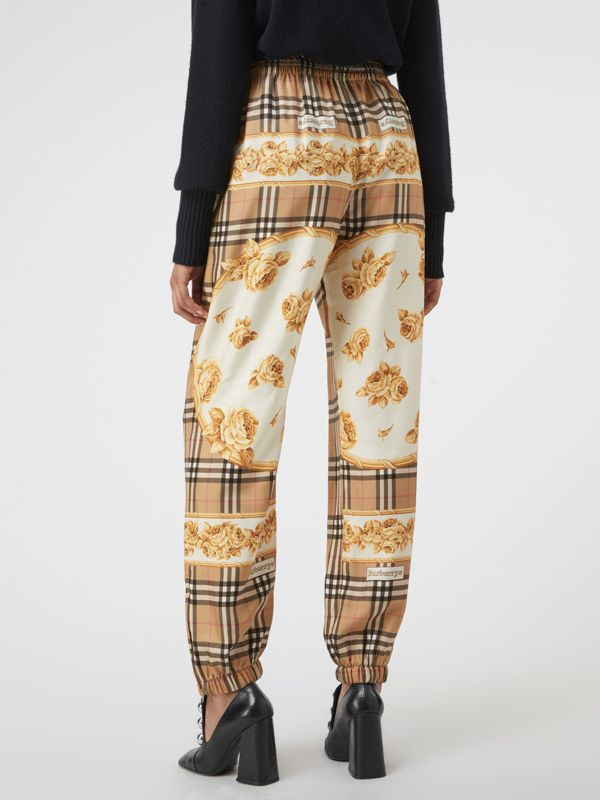 Scarf Border Vintage Check Silk Drawcord Trousers in Multicolour - Women | Burberry Hong Kong - cell image 2