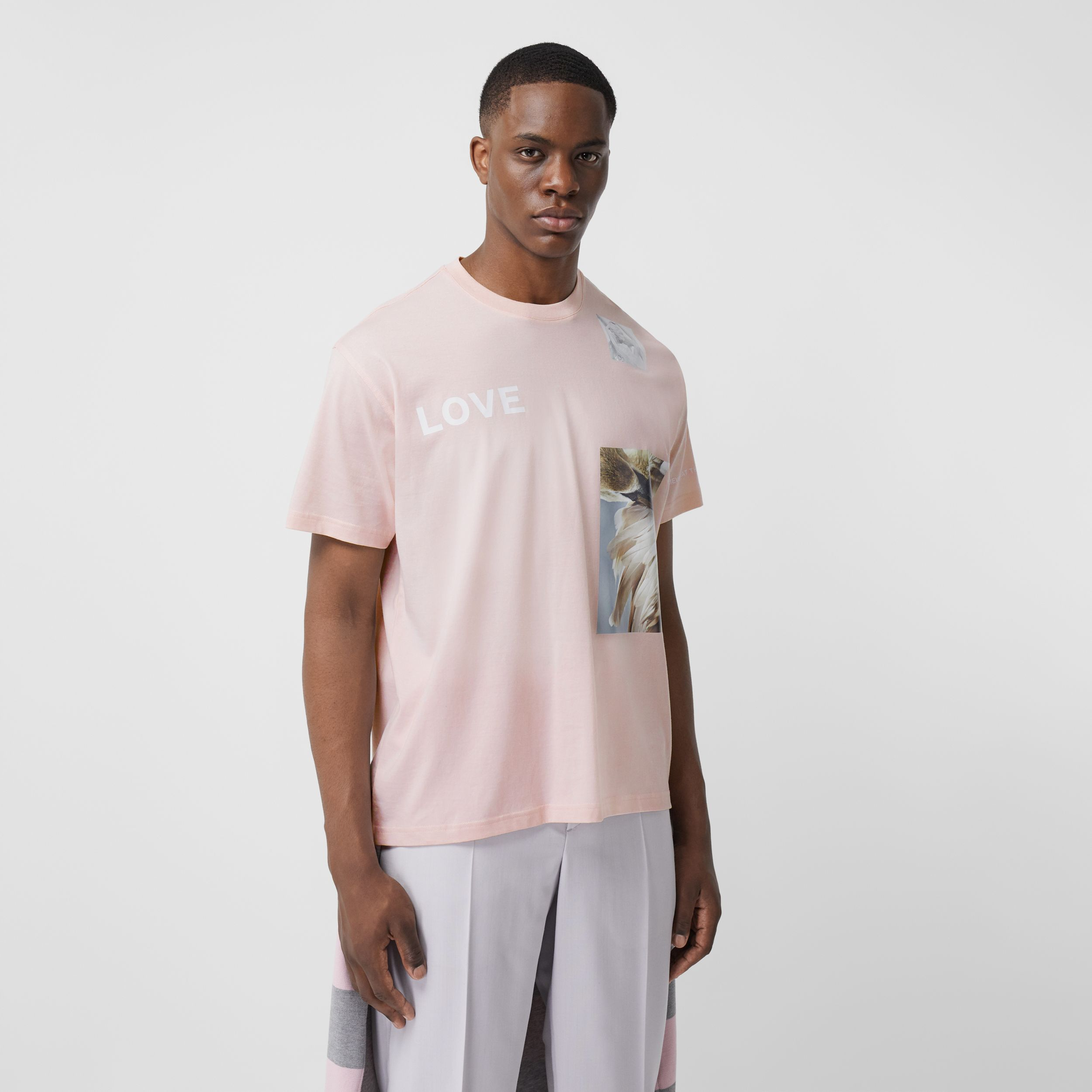 Montage Print Cotton Oversized T-shirt in Alabaster Pink - Men | Burberry - 1