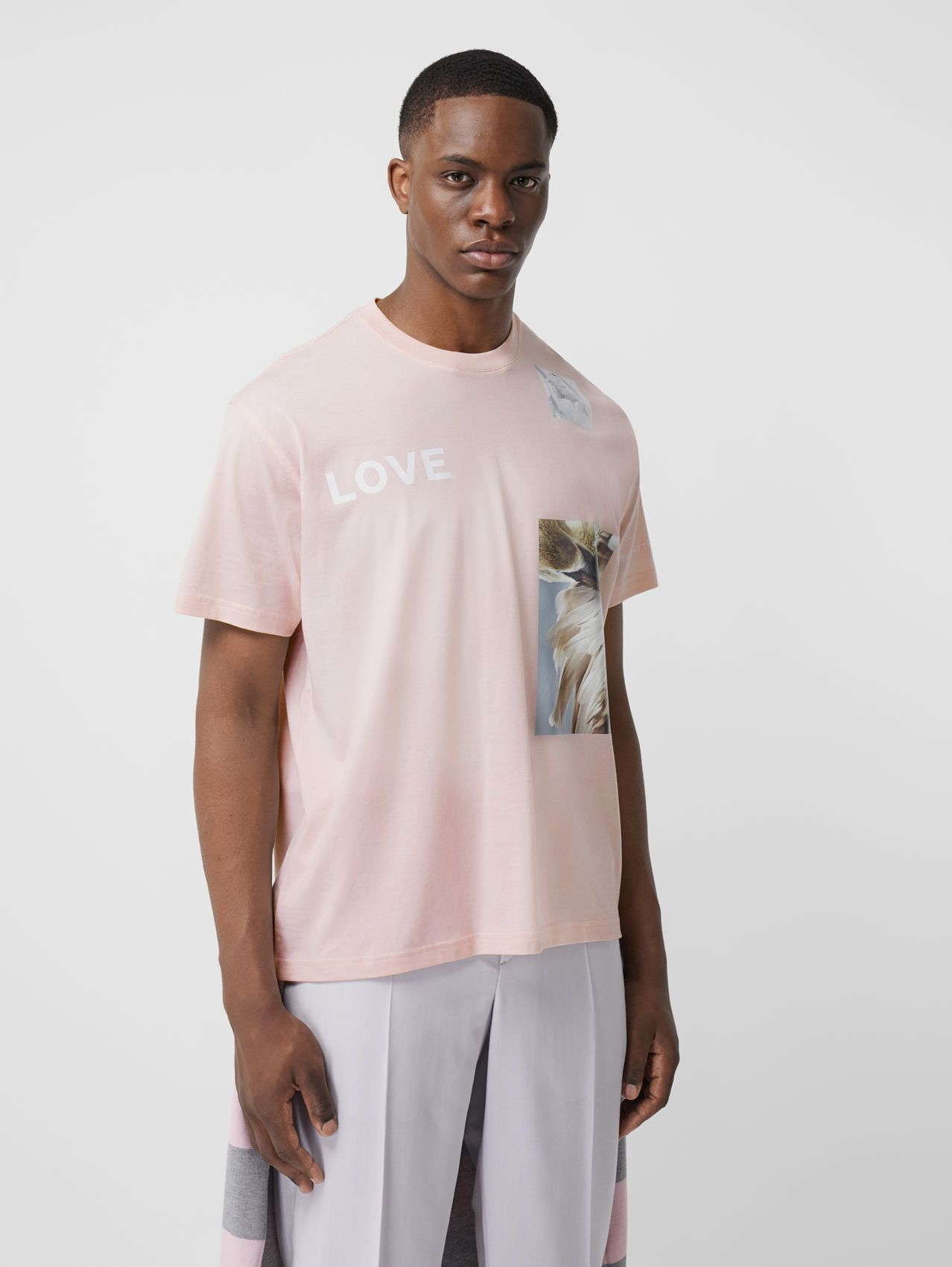 T-shirt oversize in cotone con stampa collage (Rosa Alabastro)