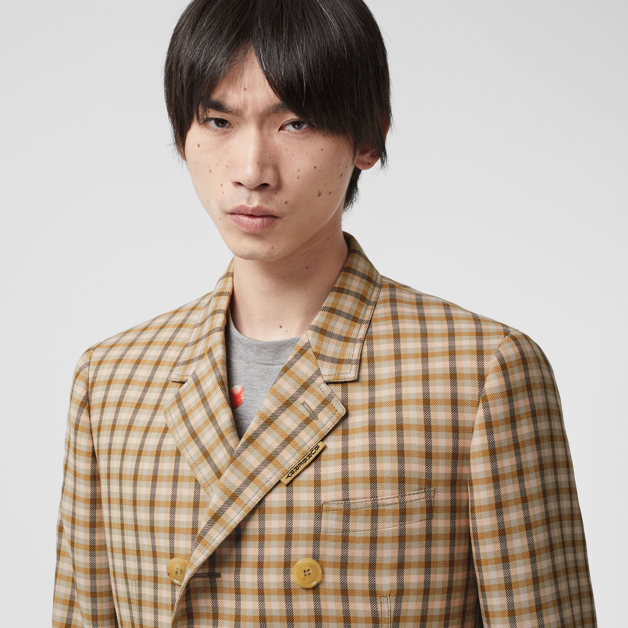 Slim Fit Gingham Wool Tailored Jacket in Soft Fawn - Men | Burberry - 2
