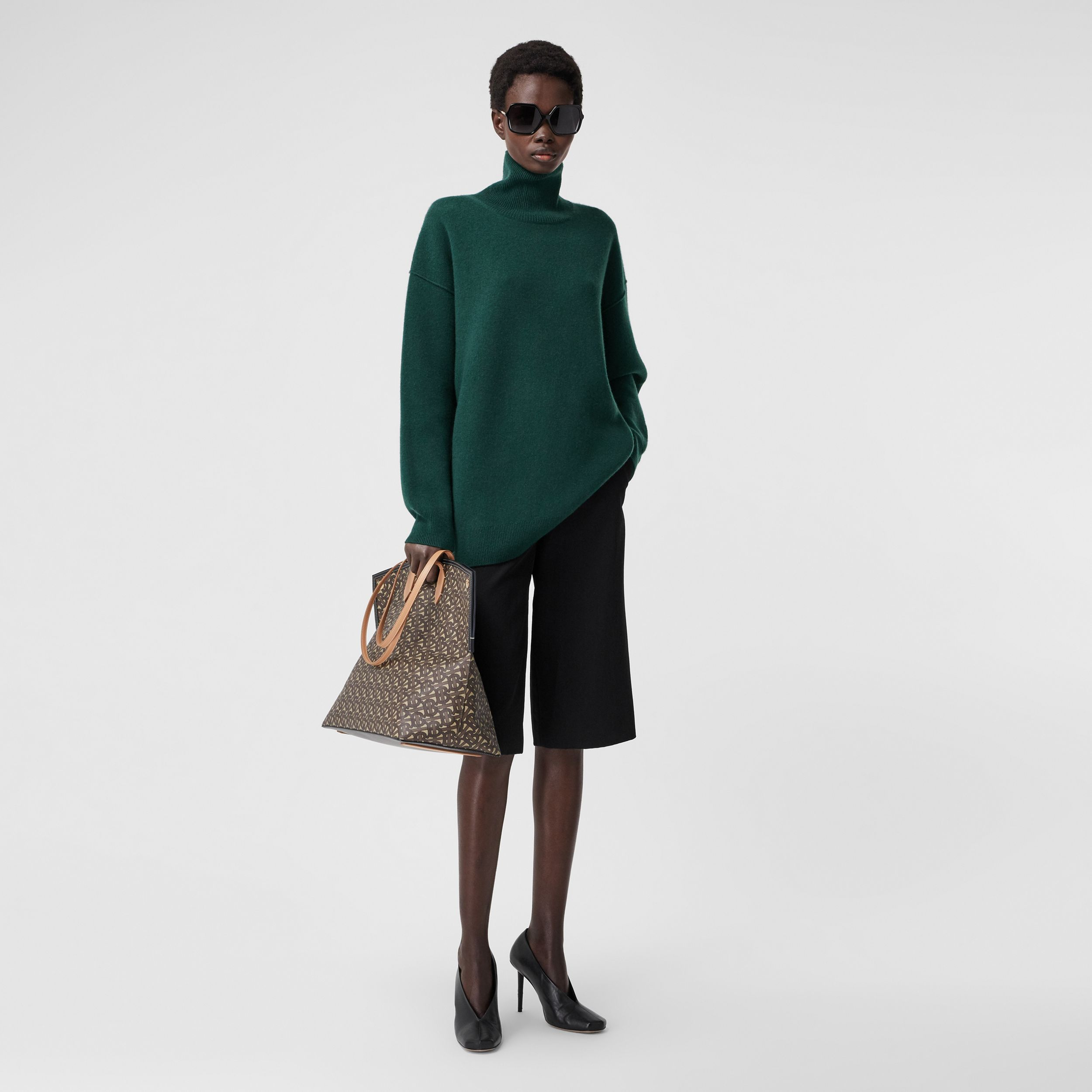 Monogram Motif Cashmere Blend Funnel Neck Sweater in Bottle Green - Women | Burberry Hong Kong S.A.R. - 1