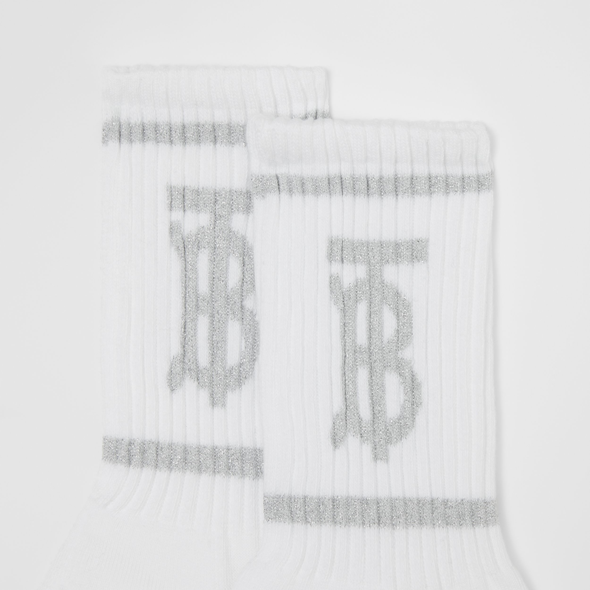 Metallic Monogram Motif Intarsia Socks in White | Burberry - 2