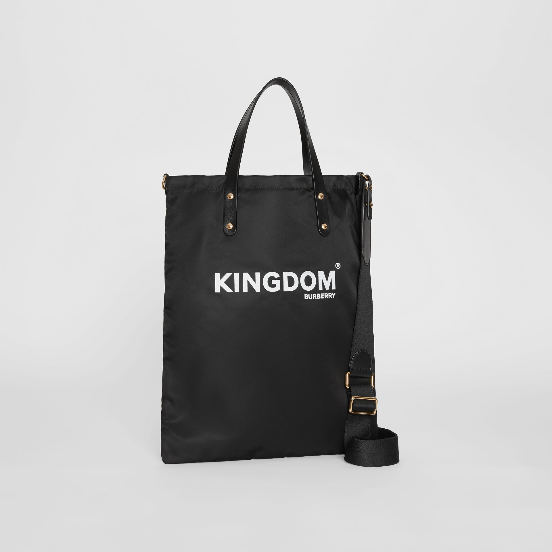 Kingdom Print Nylon Tote in Black | Burberry - gallery image 4