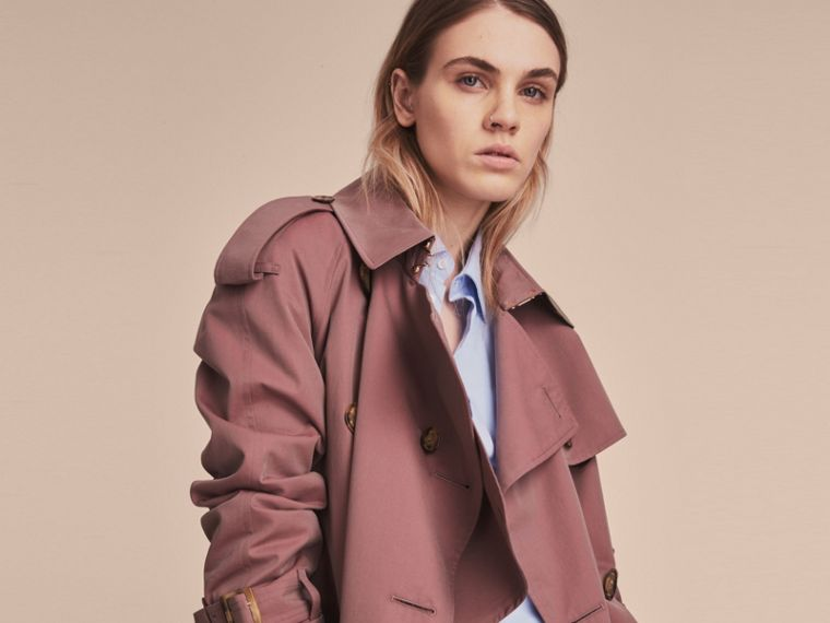 Tropical Gabardine Trench Coat in Antique Rose - Women | Burberry Canada - cell image 4