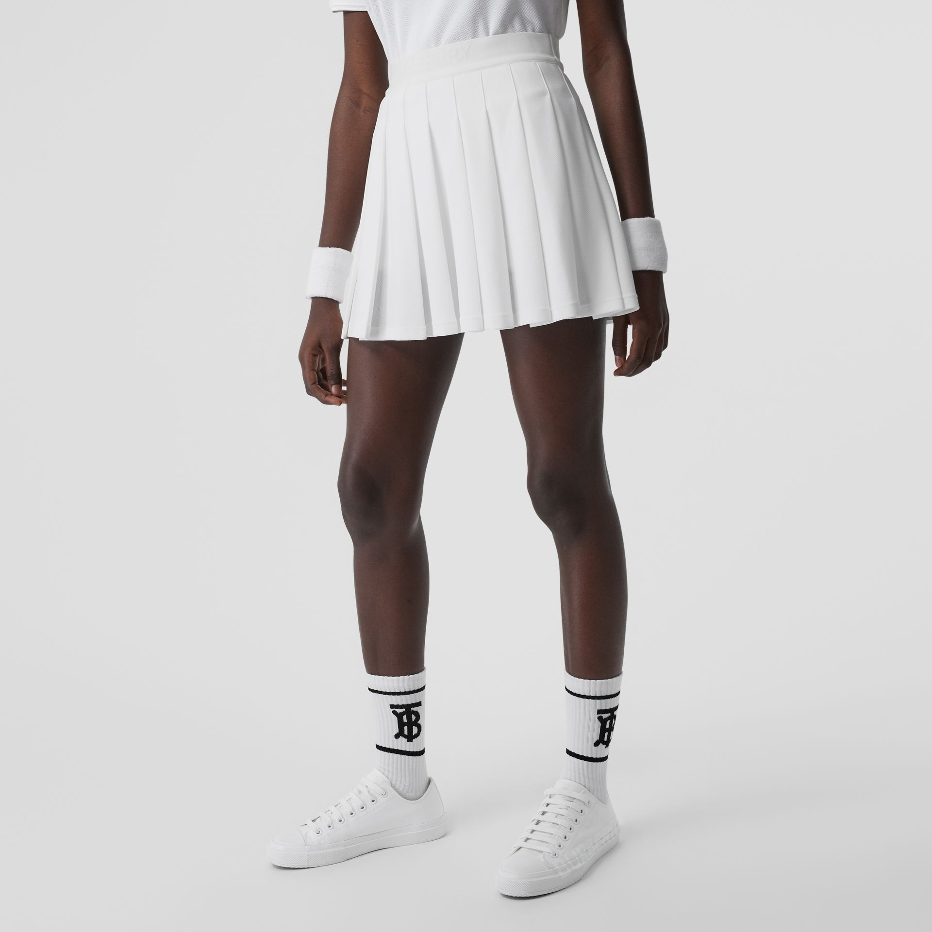 Pleated Jersey Tennis Skirt in White - Women | Burberry - gallery image 4