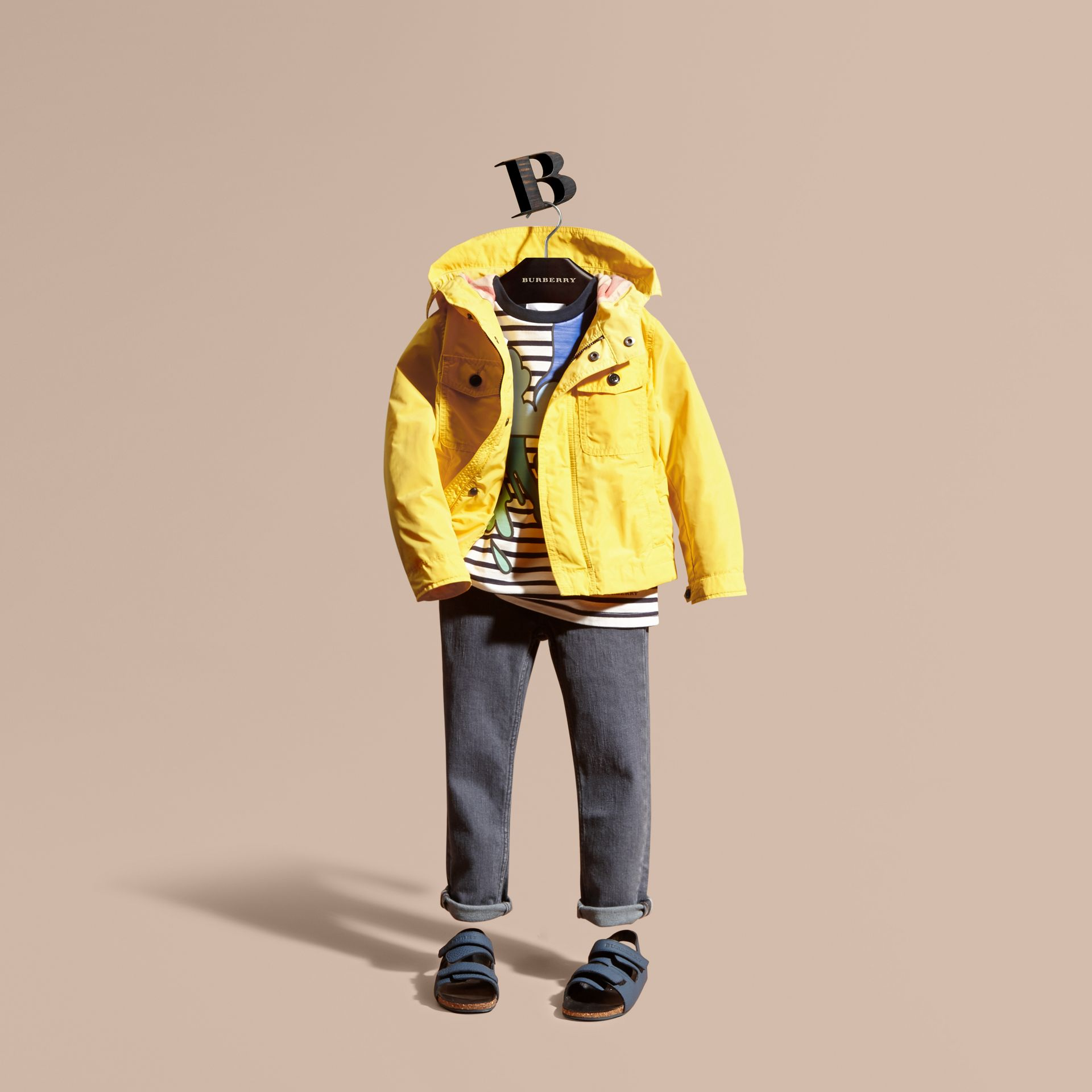 Hooded Packaway Technical Jacket Bright Yellow - gallery image 1